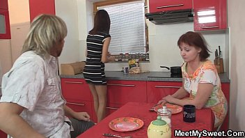 Family dinner leads to threesome