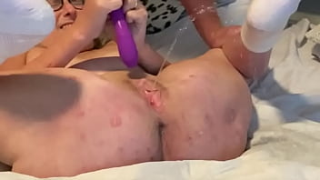 Hot Mom With Purple Vibrator Fucks Her Pussy To Multiple Squirts
