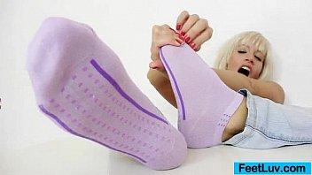 Nasty blonde Bella Morgan sweet feet