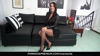 TRANS BELLA - Latina tranny Erika Lavigne enjoys 2 Italian cocks in threesome