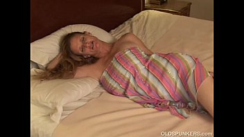 Blonde chubby old granny masterbating Slutty old spunker enjoys a nice little wank