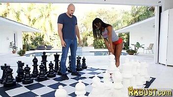 Tight ass ebony slut Mya Mays fucks a huge white cock