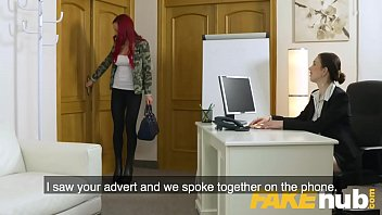 Female Agent Hot busty redhead seduced in shower and fucked on couch thumbnail