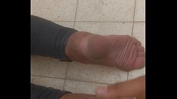 Israeli milf Neighbor wife let me cum on her soles at public