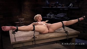 Blonde in bondage gets nipples tortured