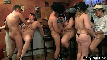 Purple porno plump party They bang three hot fatties in the pub