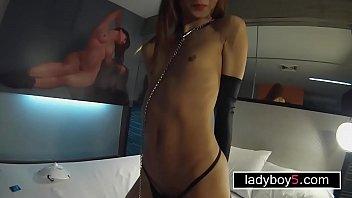 Petite ladyboy fetish blowjob and anal doggystyle fucking