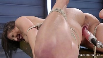 Girl tied up gets machine fucked Tied up babe has fun on fucking machine