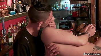 Puffy nipples slave fucked in public bar