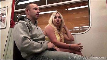 Subway tits - Big tits star stella fox fucked in a subway train by 2 guys