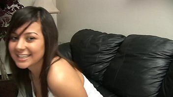 BRUNETTE WITH NICE TITS SWALLOWS A HUGE WANG ON CASTING COUCH Thumb