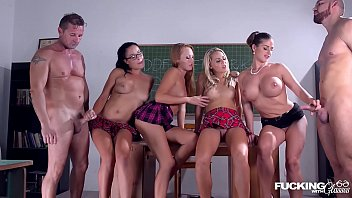 Fucking in glasses with Christen Courtney & Angel Blade during school hours