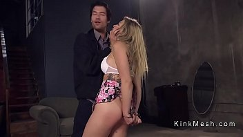 Bound female slave gets anal fucked