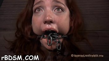 Gagged and tied up serf is being pleasured with vibrator