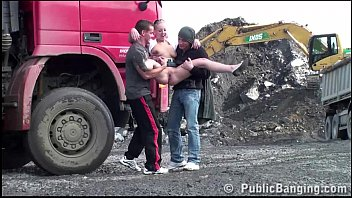Best of teen gangbang Construction site public gangbang with a young pretty girl