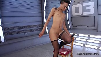Small tits ebony fucked by machine