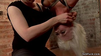 Dom couple torments bound blonde