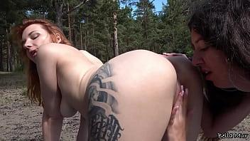Three lesbians met each other on a summer beach