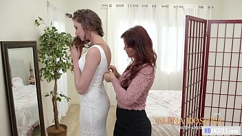 Wedding gifts for lesbians Mommys girl - stepmom helps with the wedding dress - syren de mer and elena koshka