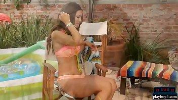 Perfect natural bikini MILF strips naked and plays