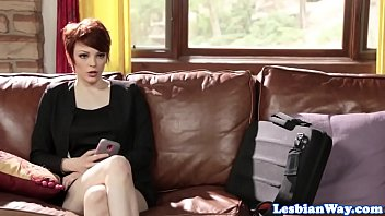 Lesbian redhead babe scissoring with beauty