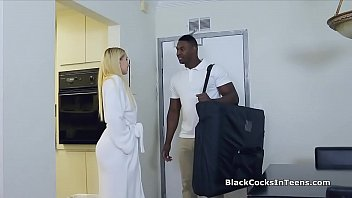 Blonde filled with masseurs big black cock
