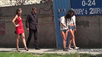Babes in hotpants whipped and group fucked