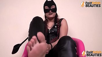 Italian barefoot domme in leather small penis humiliation