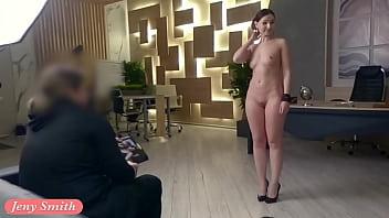 Silence. Jeny Smith With No Panties Teasing A Man. Hidden Camera Office Prank