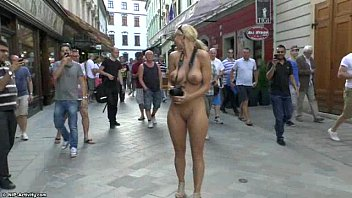 Over active adult Crazy blonde chick susanne naked on public streets