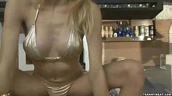 She is all alone and this hot shemale blonde jerks off
