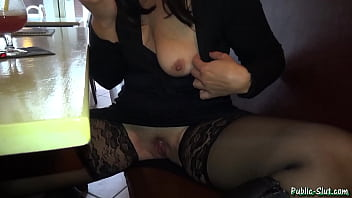 Hot wife has some public fun at a pub
