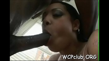 Two penis blow job - Two white slutty babes are sharing one giant black penis