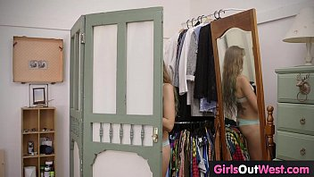 Girls Out West - Small titted teen masturbates on the bed