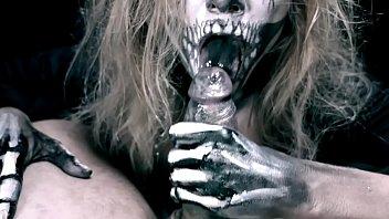 Skeleton girl sucks cock. Horror halloween
