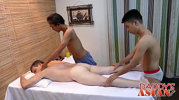 Chubby asian gay Horny dude gets fucked by two asian guys after hot massage