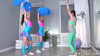 Cheerleader using dildo Young cheerleaders have lesbian fun time