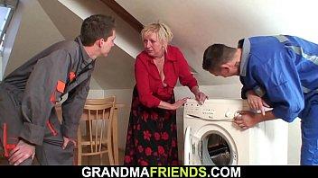 Big dick repairmen Two repairmen fuck old blonde grandma