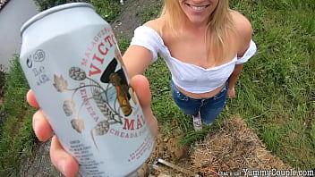 Construction Worker's Daydream - Beer, BJ, Huge Cum On Tits