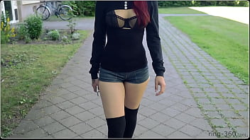 Brunette Girl With Skateboard Flashing In Public