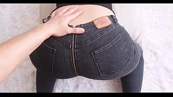 Fuck MILF and her Big Ass Zipper Jeans - Cristall Gloss