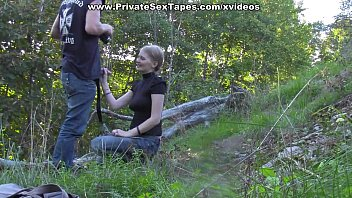 Passionate couple porn scenes in the desolate woods