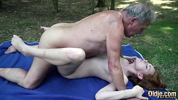 Sexy young redhead seducing grandpa and has incredible sex with him preview image
