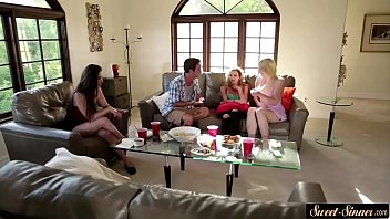 Gorgeous teen banged while her friends watch