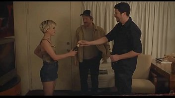 Gemma Brockis jacks a guy off and shows her pussy to another guy in the mainstream movie No Light and No Land Anywhere
