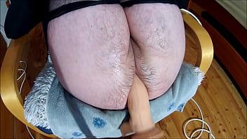 Hairy slut on a fucking machine