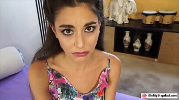 Lovely brunette teen babe Arielle Faye nailed by stepdad