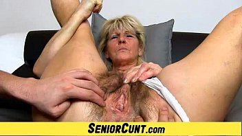 Nude seniors - Hairy old pussy close-ups and fingering with grandma hanna