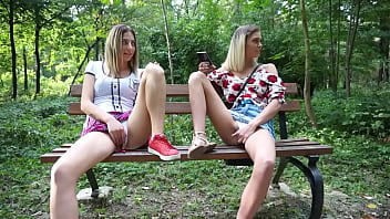 Blonde teens showing wet pussy in park