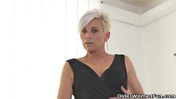 Kathie nude - Euro milf kathy white rubs her nyloned pussy